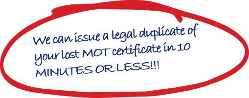 Lost MOT Certificate Replacement Duplicate
